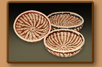 Pine Needle Baskets with colored raffia band